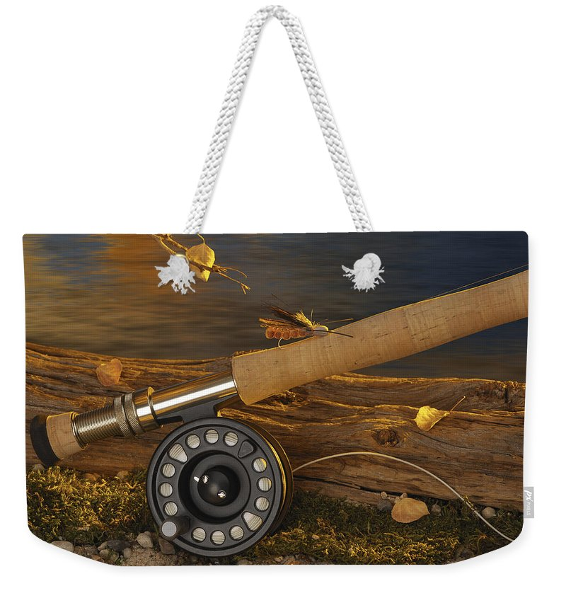 Fishing Weekender Tote Bag featuring the photograph Along The Stream by Jerry McElroy