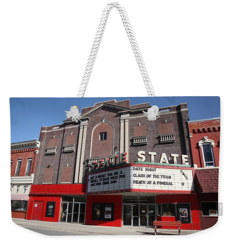 Alpena Weekender Tote Bag featuring the photograph Alpena Michigan - State Theater by Frank Romeo