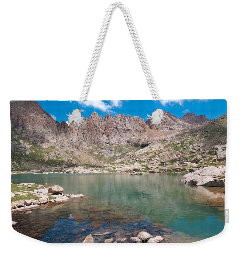 Sunlight Peak Weekender Tote Bag featuring the photograph Alpine Lake Beneath Sunlight Peak by Cascade Colors
