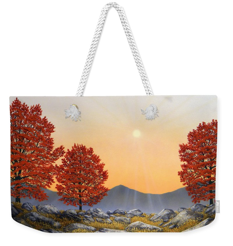 Mountains Weekender Tote Bag featuring the painting Alpine Meadow II by Frank Wilson