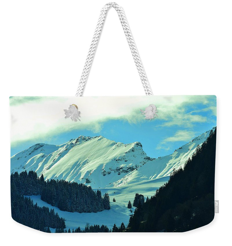 Alps Weekender Tote Bag featuring the photograph Alps Green Profile by Felicia Tica