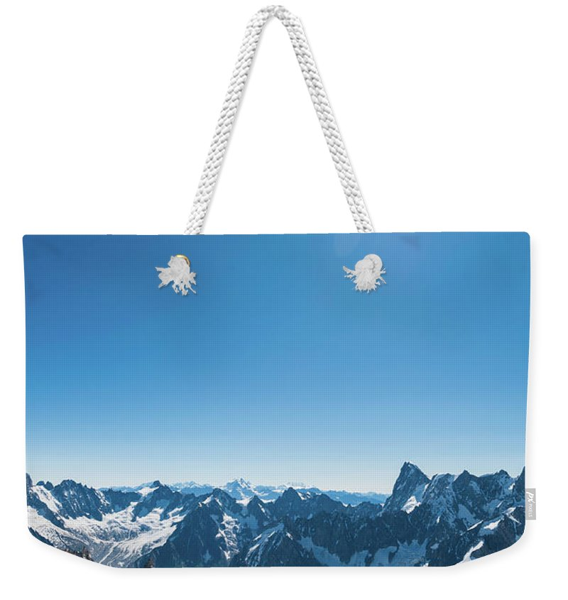 Scenics Weekender Tote Bag featuring the photograph Alps Snow Summit Sunburst Mountaineers by Fotovoyager