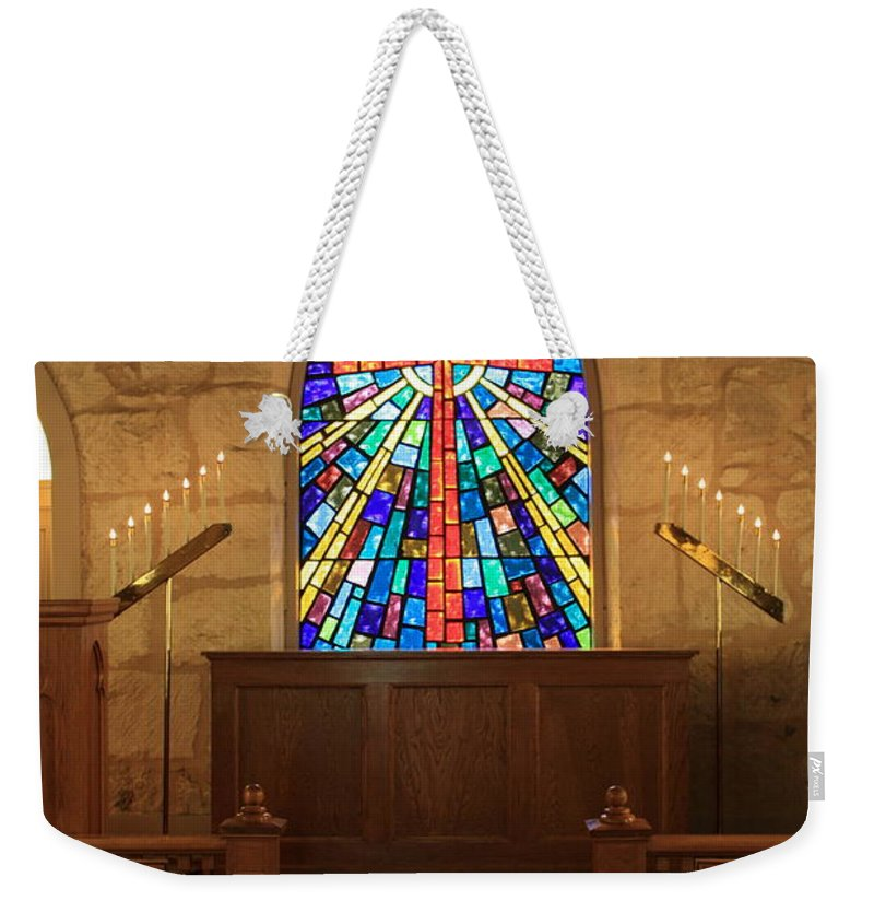 The Little Church Weekender Tote Bag featuring the photograph Altar At The Little Church In La Villita by Carol Groenen