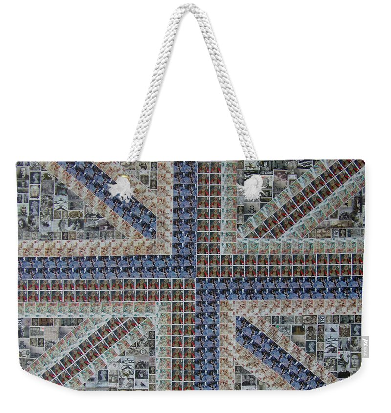 Uk Weekender Tote Bag featuring the painting Alternative Union Jack 3 by Gary Hogben