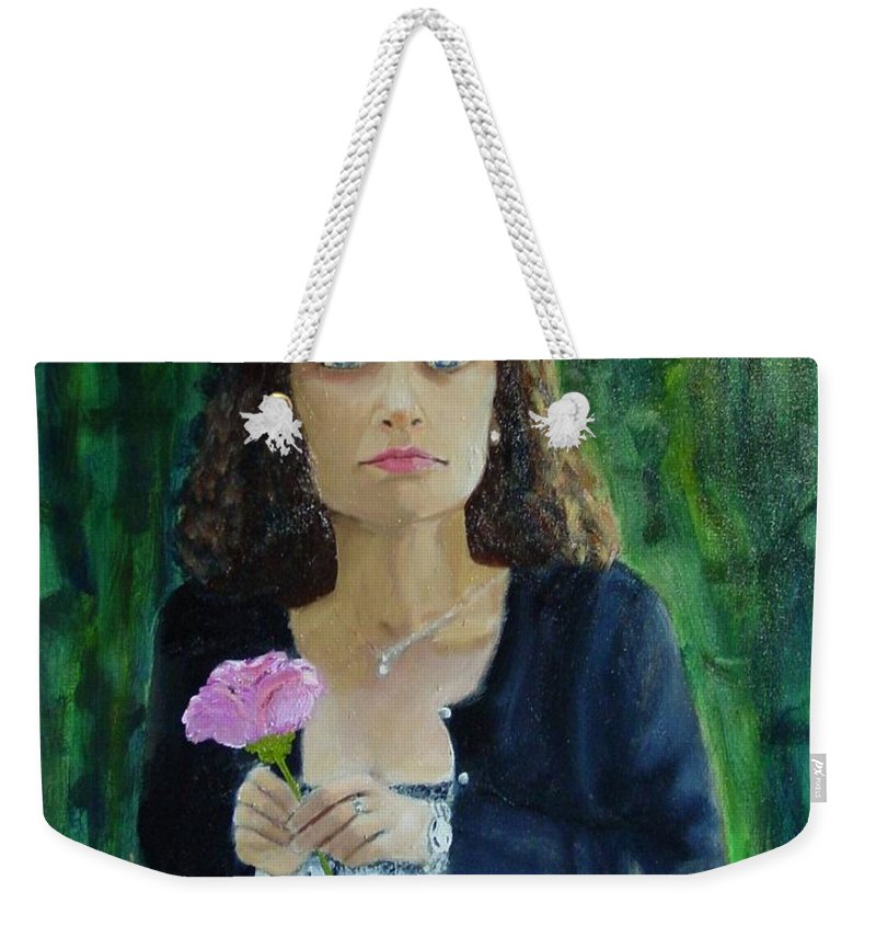 Portrait Weekender Tote Bag featuring the painting Aly by Laurie Morgan