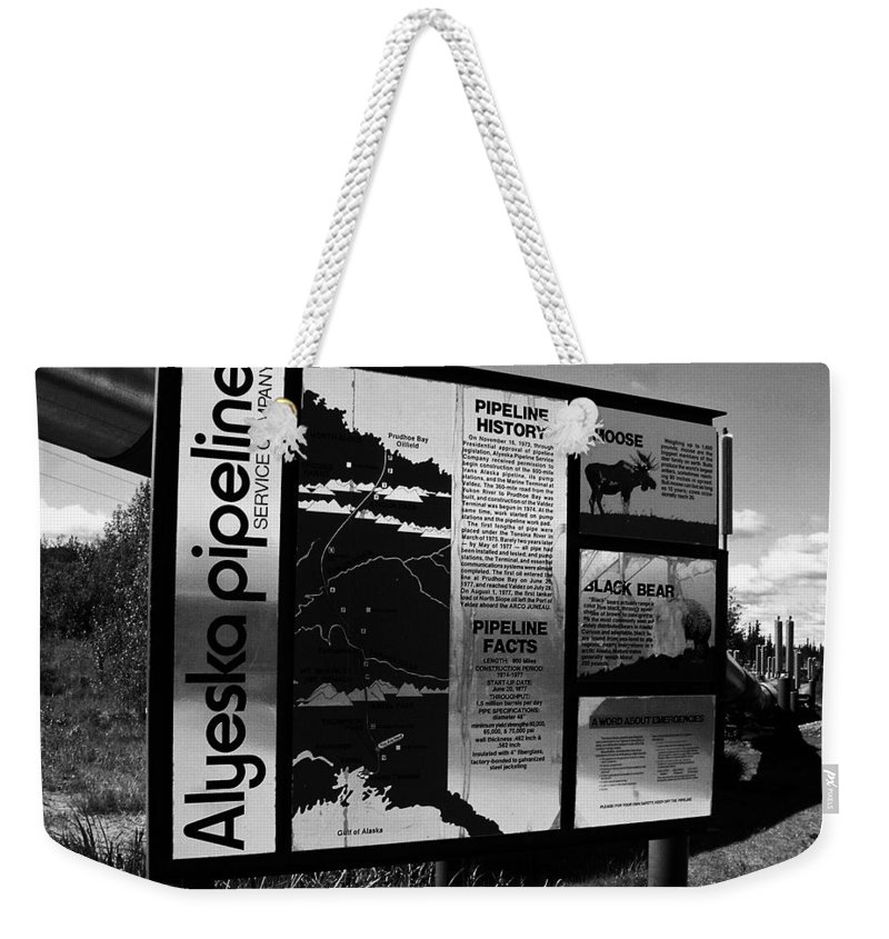 North America Weekender Tote Bag featuring the photograph Alyeska Pipeline by Juergen Weiss