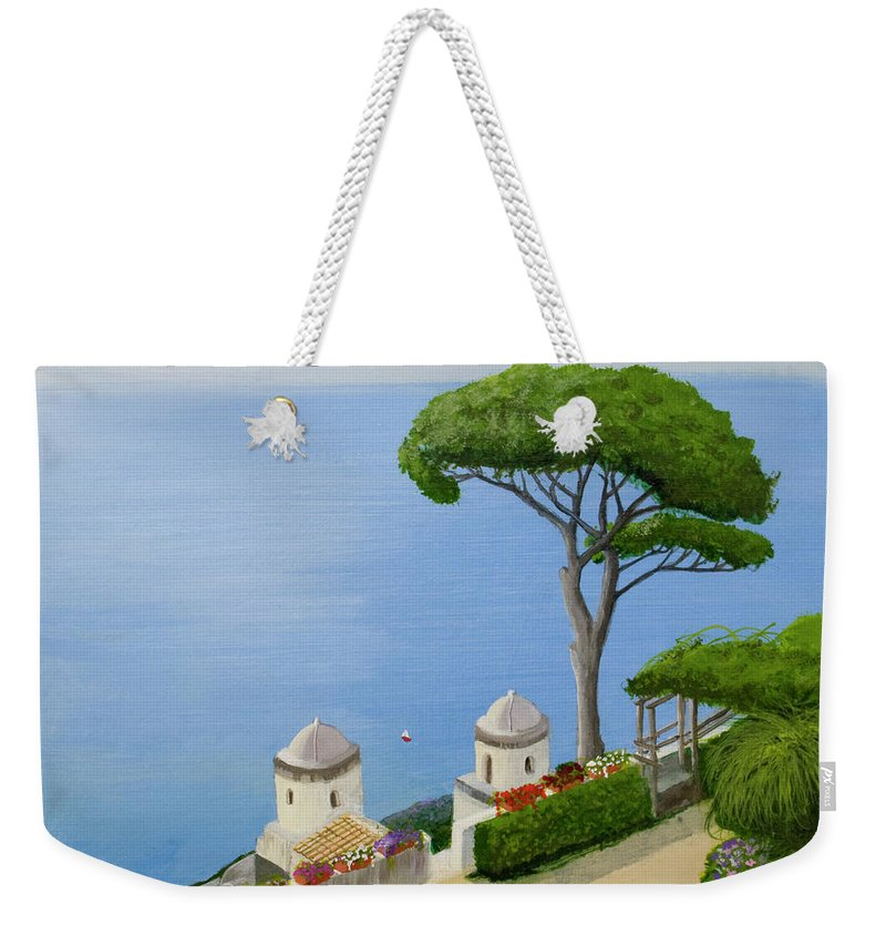Amalfi Weekender Tote Bag featuring the painting Amalfi Coast From Ravello by Mike Robles
