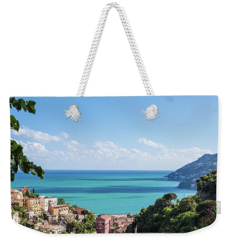 Scenics Weekender Tote Bag featuring the photograph Amalfi Coast Landscape Vietri Village by Angelafoto