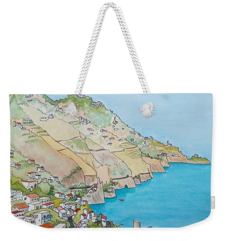Landscape Weekender Tote Bag featuring the painting Amalfi Coast Praiano Italy by Mary Ellen Mueller Legault