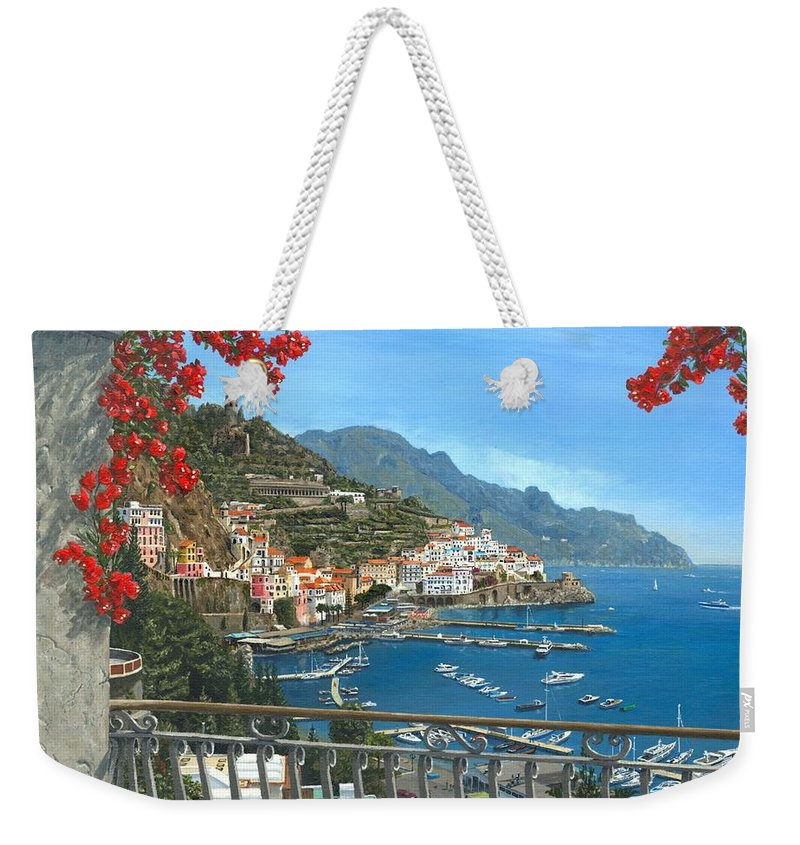 Landscape Weekender Tote Bag featuring the painting Amalfi Vista by Richard Harpum