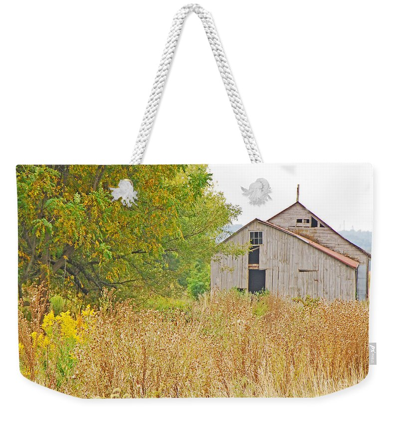 Landscape Weekender Tote Bag featuring the photograph Amana Barn by Mary Carol Story