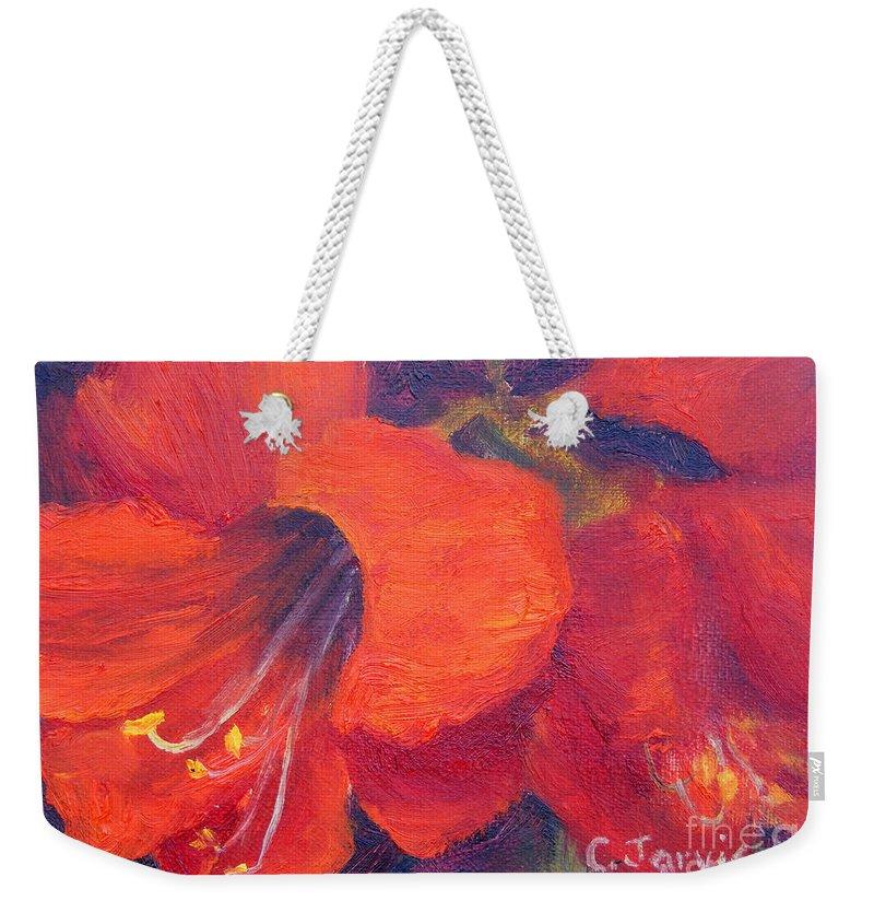 Amaryllis Flower Weekender Tote Bag featuring the painting Amaryllis Flower by Carolyn Jarvis