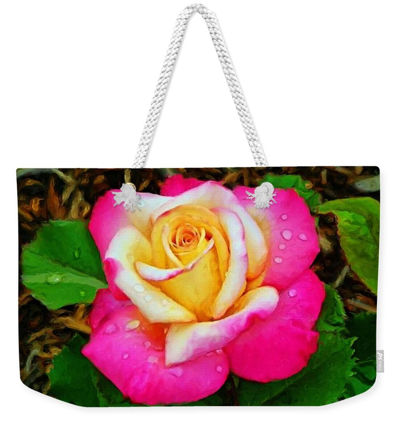 Rose Print Weekender Tote Bag featuring the painting Amazing Red Yellow Rose by Susanna Katherine