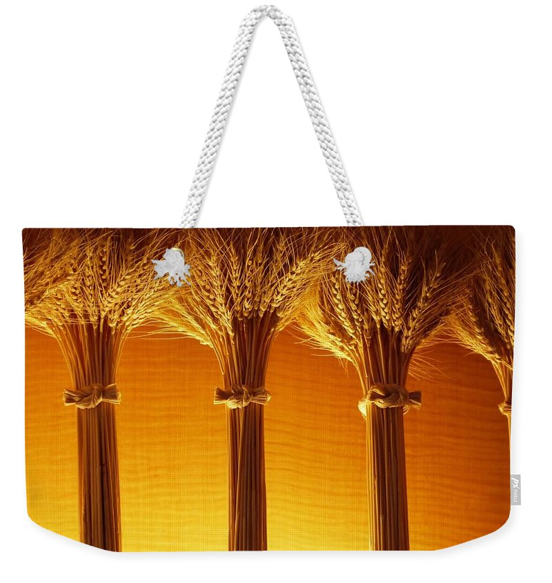 Color Weekender Tote Bag featuring the photograph Amber Grains by Amar Sheow