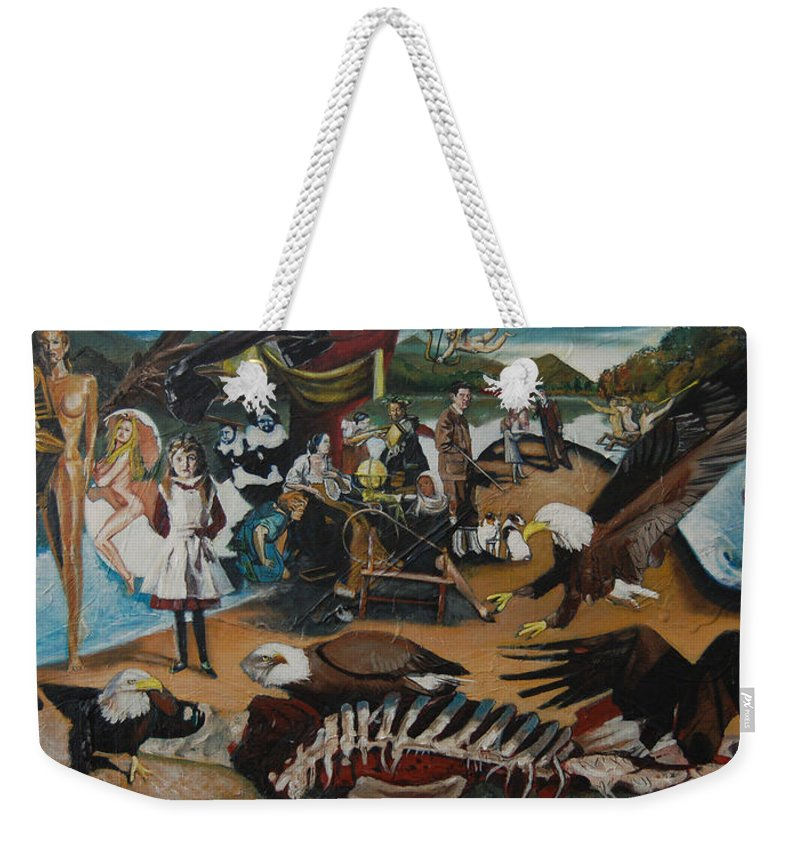 Unfinished Weekender Tote Bag featuring the painting America The Beautiful by Jude Darrien