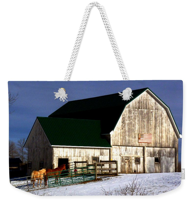 America Weekender Tote Bag featuring the photograph American Barn by Desiree Paquette
