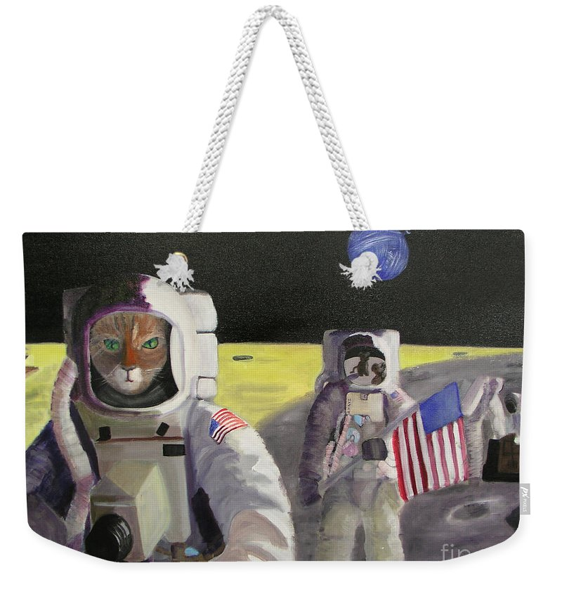 Astronauts Weekender Tote Bag featuring the painting American Cat Astronauts by Gail Eisenfeld