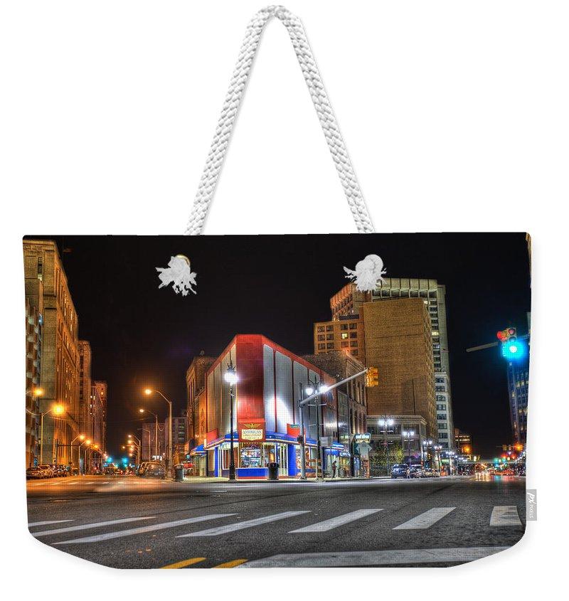 American Coney Island Weekender Tote Bag featuring the photograph American Coney Island Detroit Mi by A And N Art