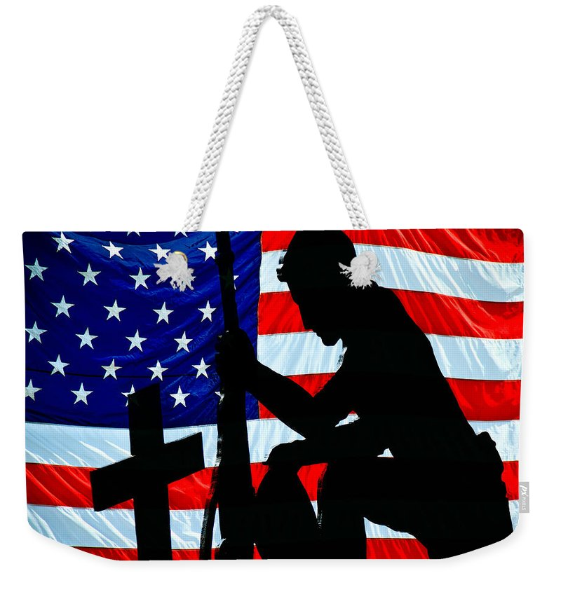Patriotic Weekender Tote Bag featuring the photograph A Time To Remember American Flag At Rest by Bob Orsillo