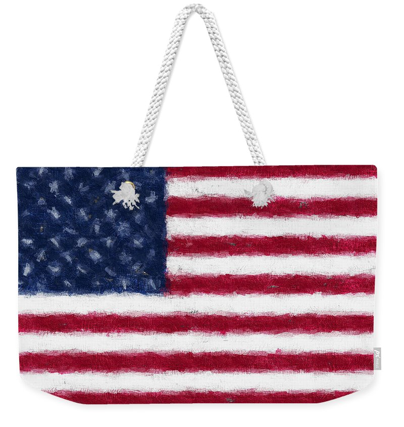Flag Weekender Tote Bag featuring the digital art American Flag Embossed by David Lange