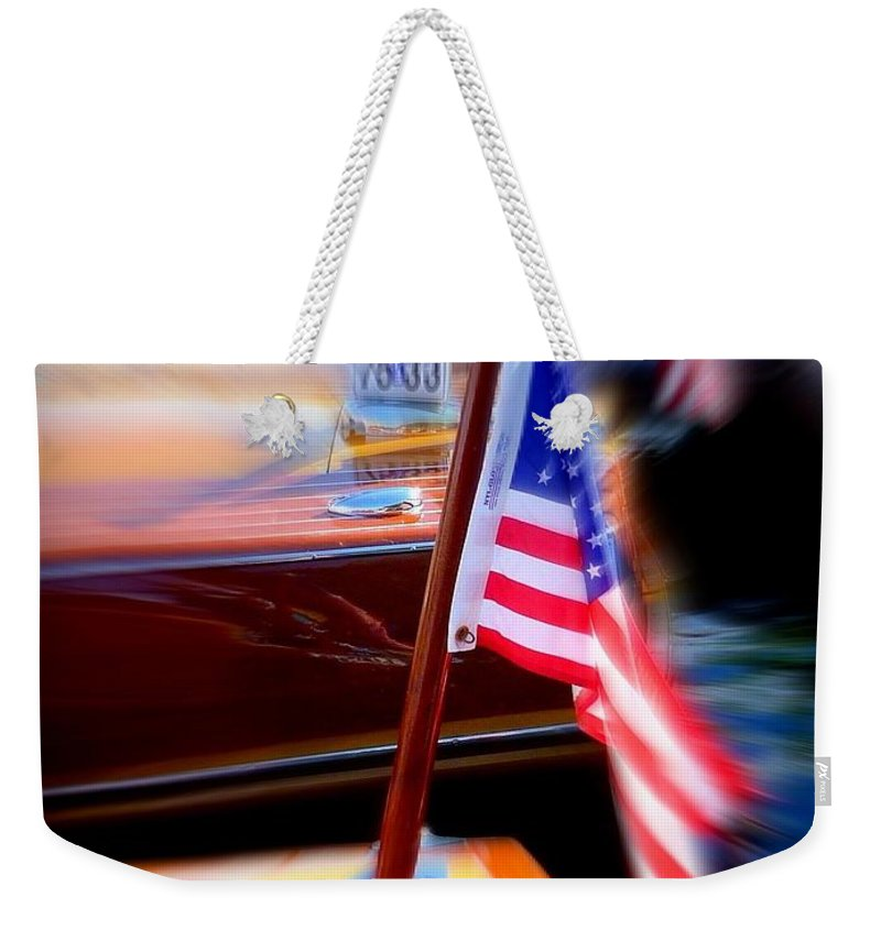 American Flags Weekender Tote Bag featuring the photograph American Flag Focus by Susan Garren