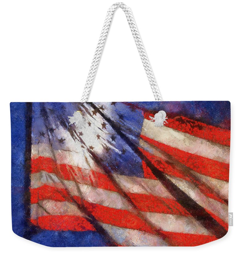 Flag Weekender Tote Bag featuring the photograph American Flag Photo Art 02 by Thomas Woolworth