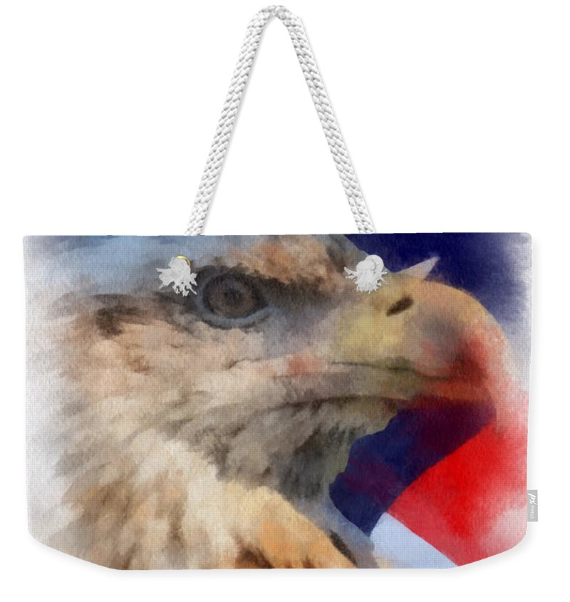 Flag Weekender Tote Bag featuring the photograph American Flag Photo Art 03 by Thomas Woolworth