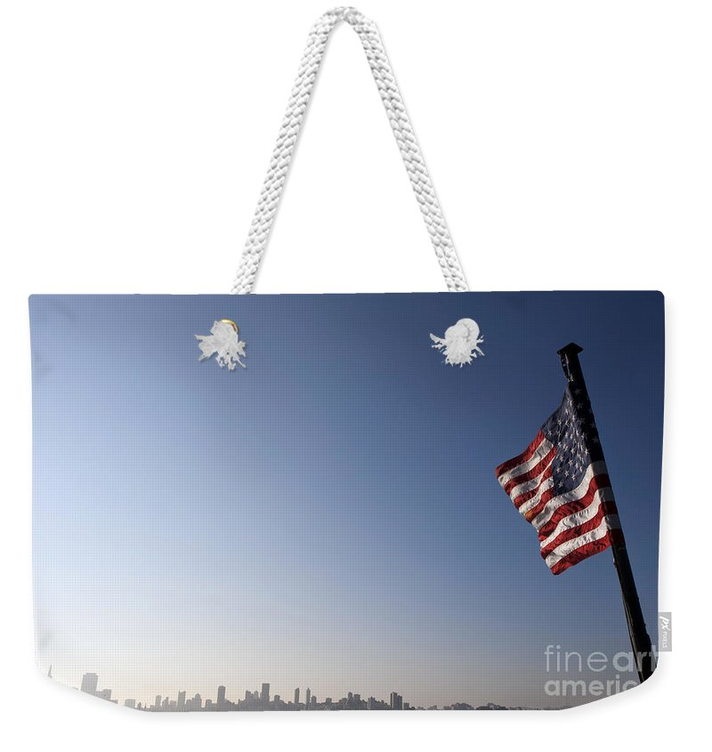 San Francisco Weekender Tote Bag featuring the photograph American Flag San Francisco Skyline by Jason O Watson