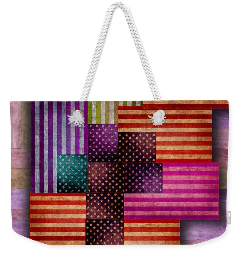 Liberty Weekender Tote Bag featuring the painting American Flags by Tony Rubino