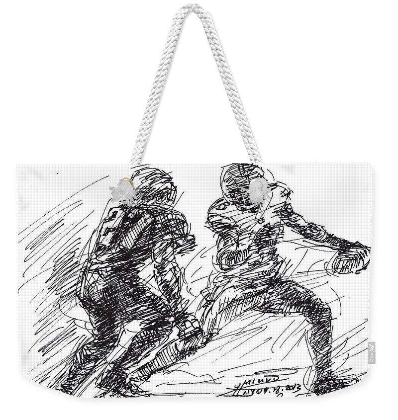 American Football Weekender Tote Bag featuring the drawing American Football 4 by Ylli Haruni