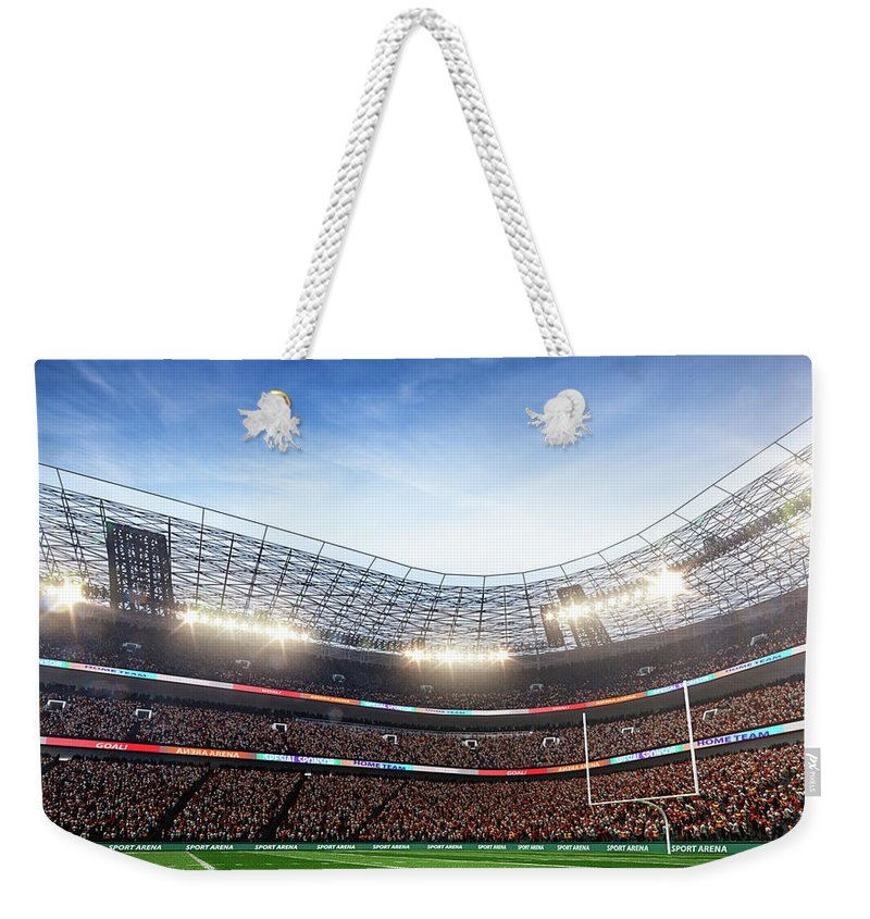 Financial Figures Weekender Tote Bag featuring the photograph American Football Stadium Arena Vertical by Sarhange1