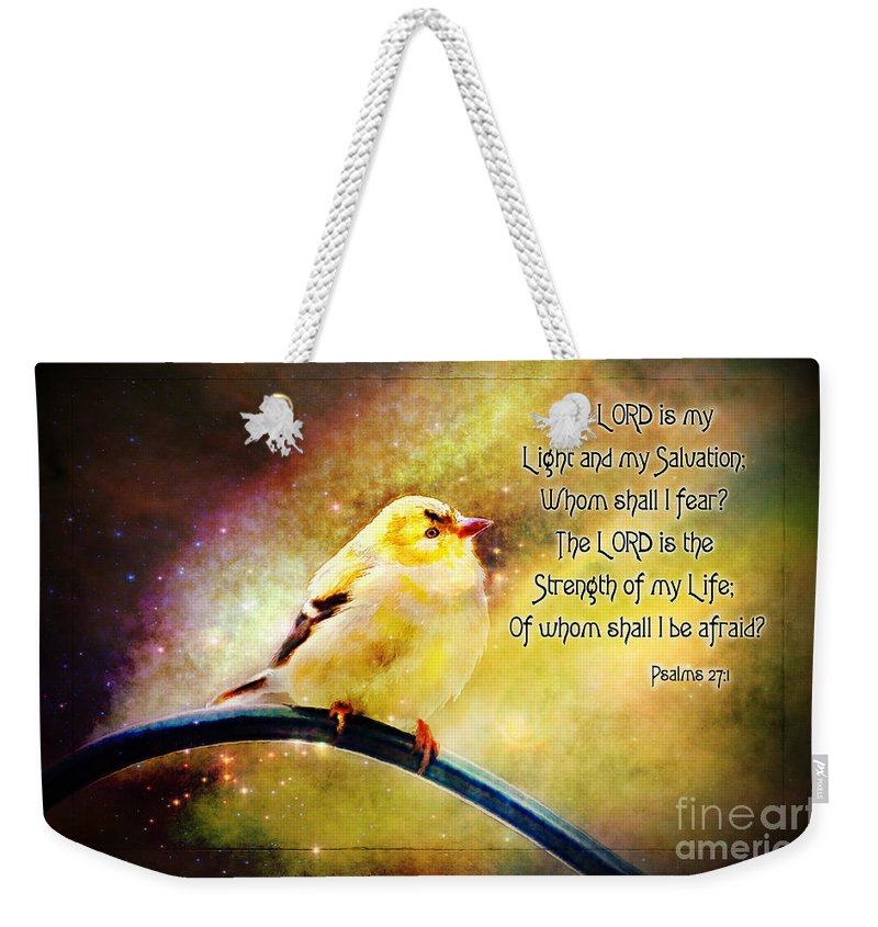 Branch Weekender Tote Bag featuring the photograph American Goldfinch Gazes Upward - Series II Digital Paint With Verse by Debbie Portwood
