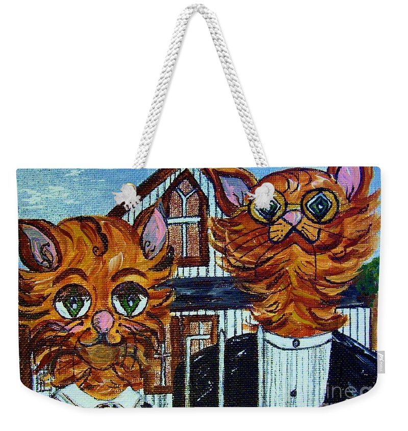 American Weekender Tote Bag featuring the painting American Gothic Cats - A Parody by Eloise Schneider Mote