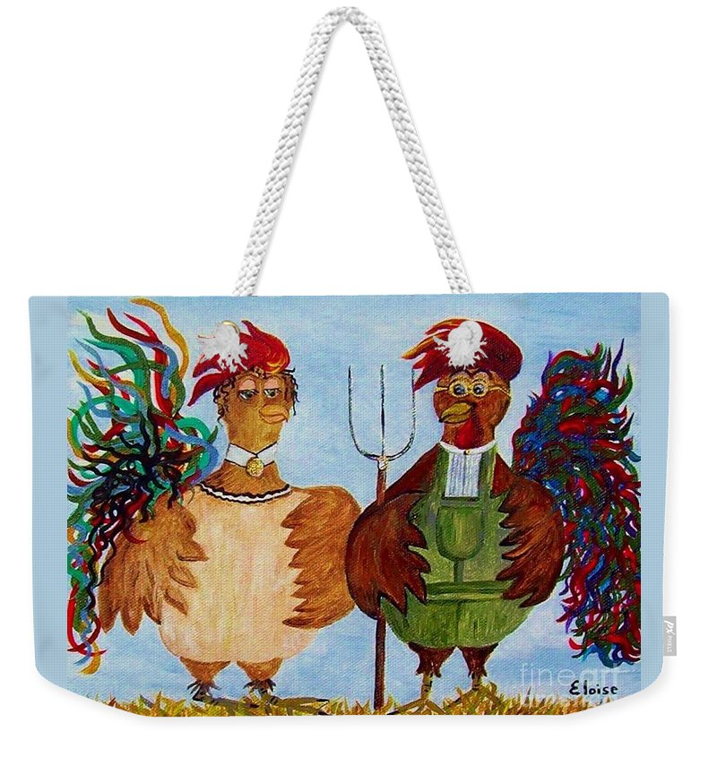 Rooster Weekender Tote Bag featuring the painting American Gothic Down On The Farm - A Parody by Eloise Schneider Mote