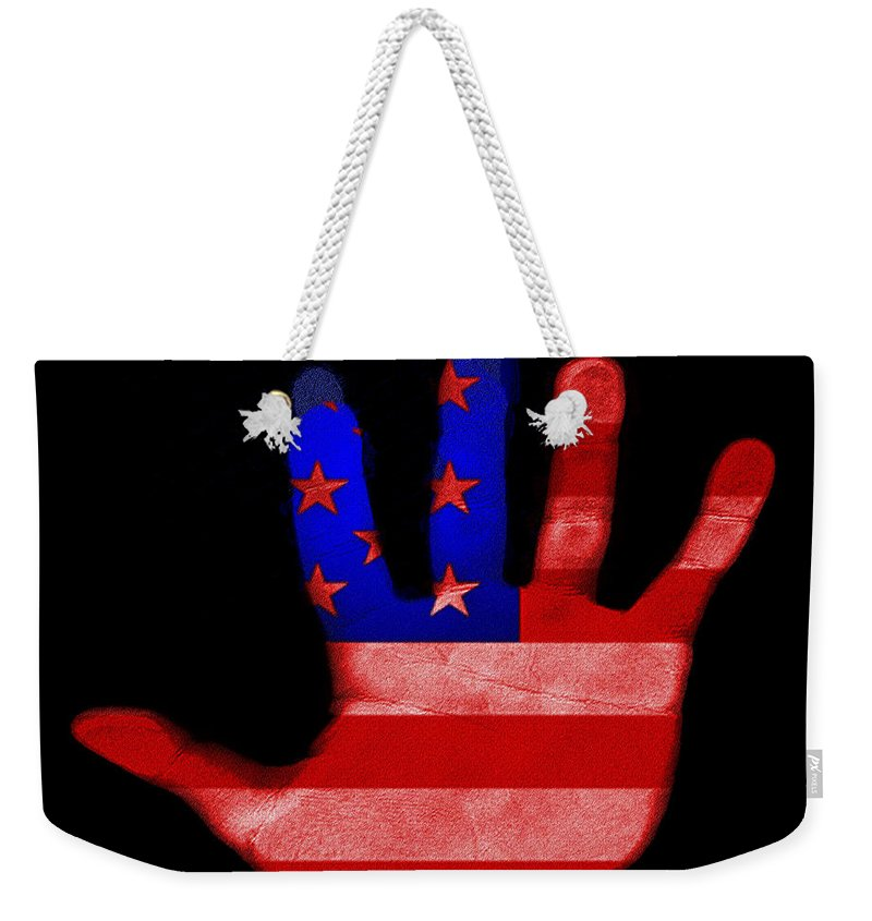 American Weekender Tote Bag featuring the photograph American Hand by Bill Cannon
