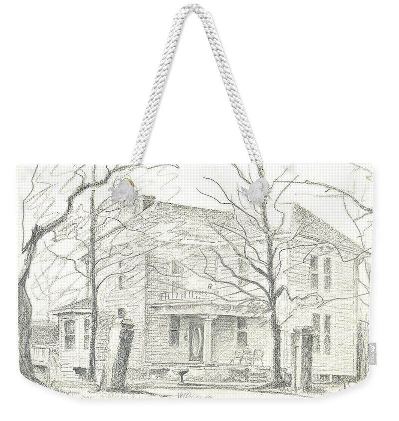 American Home Ii Weekender Tote Bag featuring the drawing American Home II by Kip DeVore