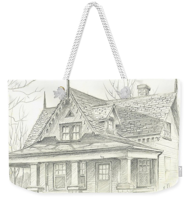 American Home Weekender Tote Bag featuring the drawing American Home by Kip DeVore