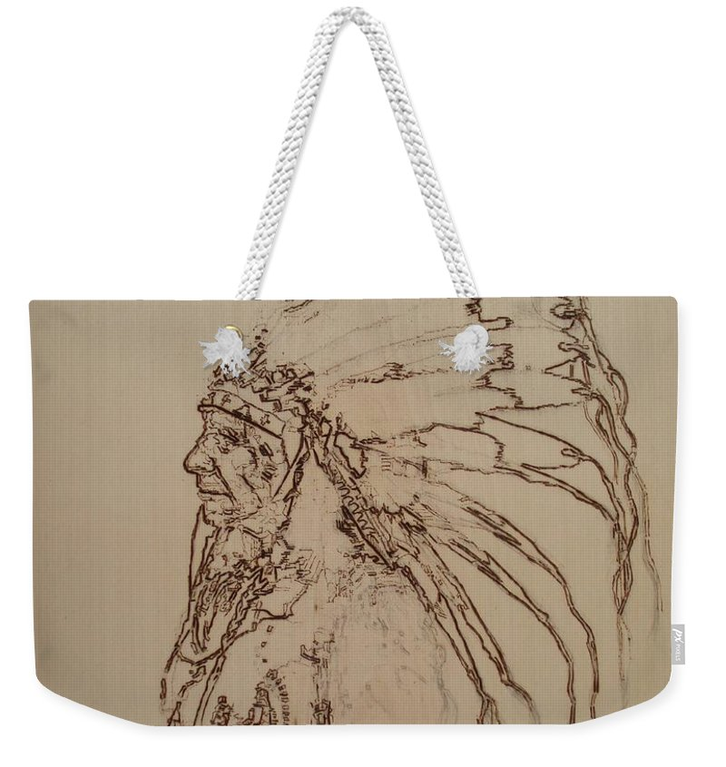 Pyrography Weekender Tote Bag featuring the pyrography American Horse - Oglala Sioux Chief - 1880 by Sean Connolly