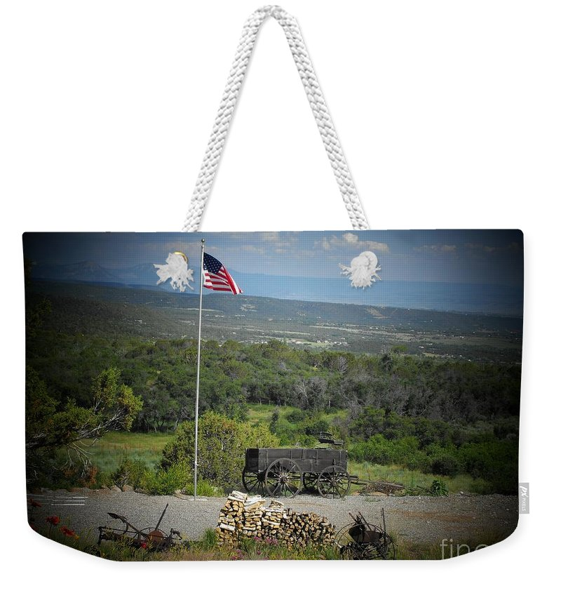 Usa Weekender Tote Bag featuring the photograph American Wagon by Brandi Maher