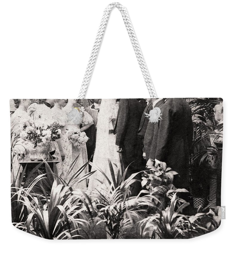 1900 Weekender Tote Bag featuring the photograph American Wedding, 1900 by Granger