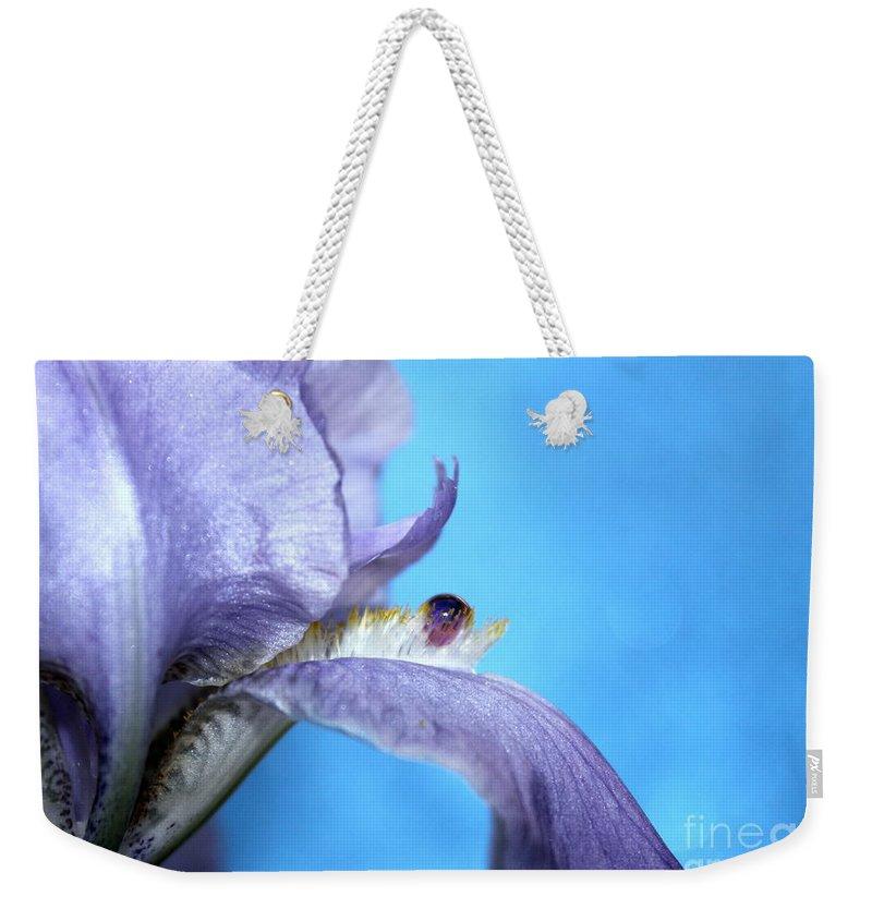 Iris Weekender Tote Bag featuring the photograph Amethyst Iris by Krissy Katsimbras