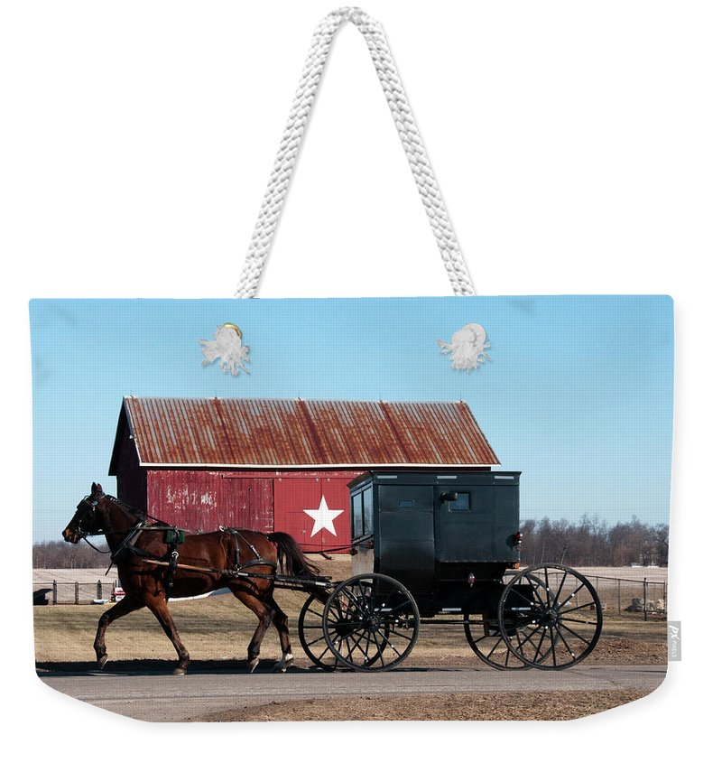 Barn Weekender Tote Bag featuring the photograph Amish Buggy And Star Barn by David Arment