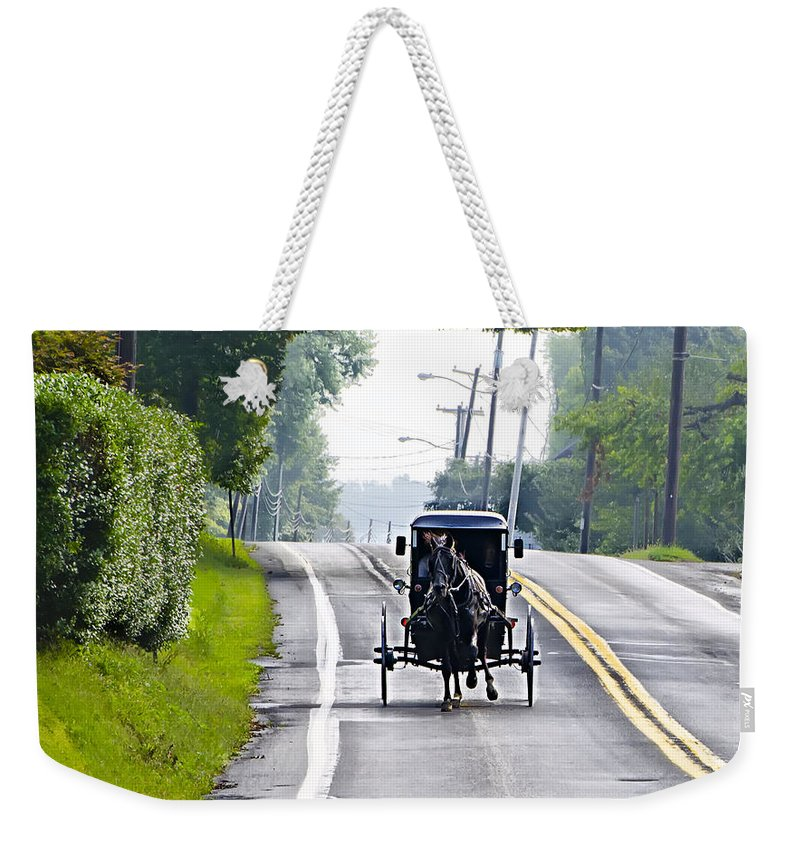 Amish Weekender Tote Bag featuring the photograph Amish Buggy In Lancaster County Pa. by Bill Cannon
