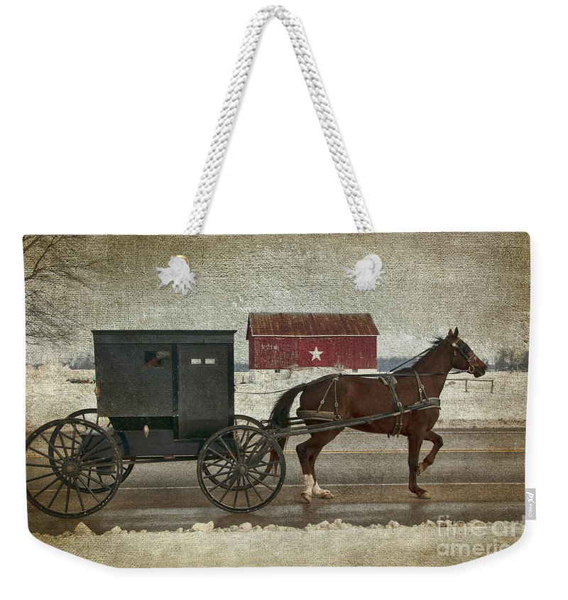 Amish Weekender Tote Bag featuring the photograph Amish Horse And Buggy And The Star Barn by David Arment
