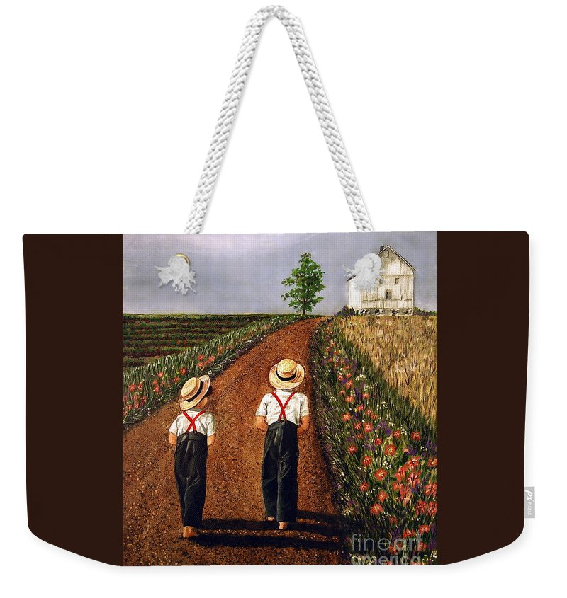 Lifestyle Weekender Tote Bag featuring the painting Amish Road by Linda Simon