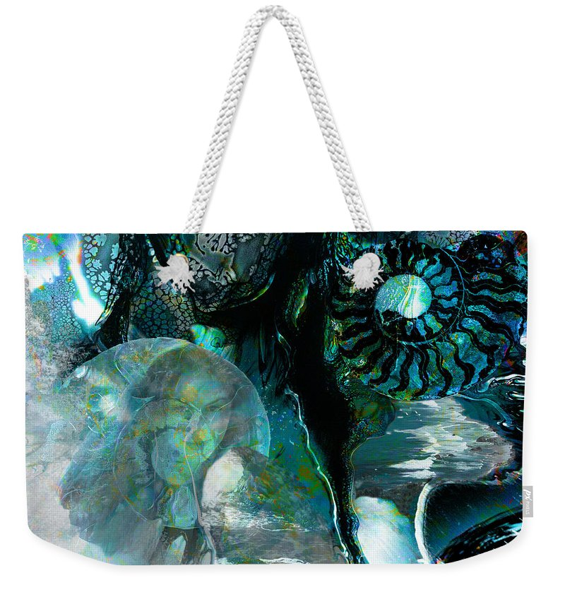Ocean Weekender Tote Bag featuring the digital art Ammonite Seascape by Lisa Yount