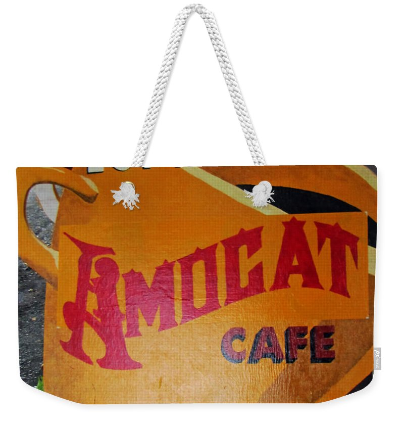 Espresso Weekender Tote Bag featuring the photograph Amocat Cafe by Tikvah's Hope
