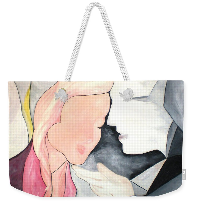 Abstract Weekender Tote Bag featuring the painting Amor by Graciela Castro