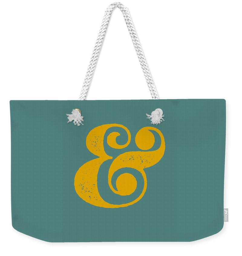 Ampersand Weekender Tote Bag featuring the digital art Ampersand Poster Blue and Yellow by Naxart Studio