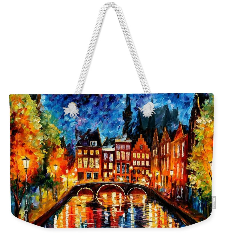 Oil Paintings Weekender Tote Bag featuring the painting Amsterdam-canal - Palette Knife Oil Painting On Canvas By Leonid Afremov by Leonid Afremov